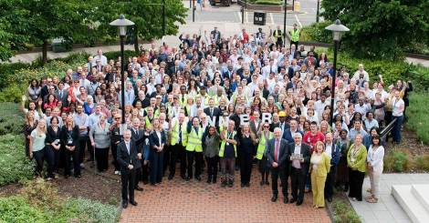 Staff celebrating being named best council in the country