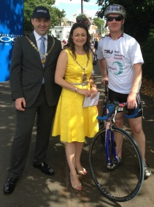 Eugene McDonald at RideLondon with Mayor of Merton Councillor Krystal Miller and her Consort Councillor Henry Nelless