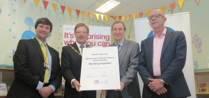 Councillor Nick Draper, Deputy Mayor Councillor John Sargeant, Head of Library and Heritage Services Anthony Hopkins and MLCAB's Chief Executive John Gillies at the CAb launch in Merton Libraries