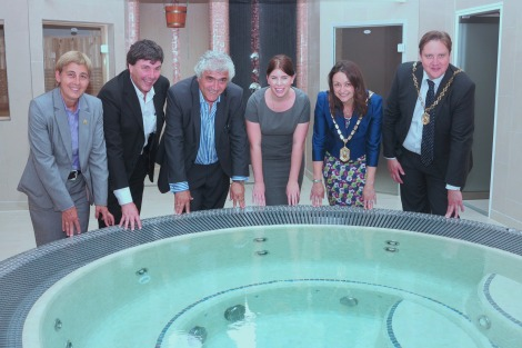 The Mayor of Merton and key councillors celebrate the new spa facilities.