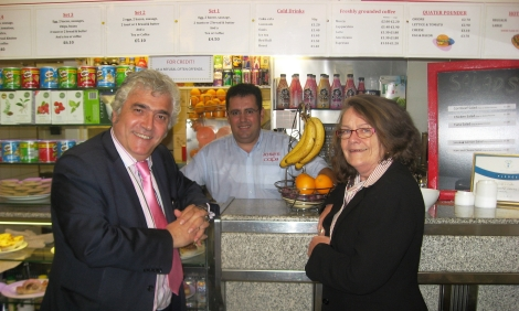 Leader of the Council, Councillor Stephen Alambritis with the owner of Jose's Cafe and Merton Council's Director of Public Health, Dr. Kay Eilbert