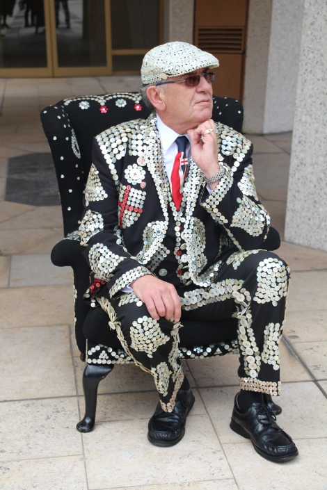 Pearly King John Walters in the pearly throne created by Ruth Eaton and Merton Adult Education