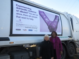 Councillor Maxi Martin and Councillor Edith Macauley are supporting this year's 16 days against domestic abuse