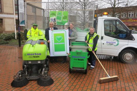 Leader of Merton Council Cllr Stephen Alambritis and cabinet member for environmental cleanliness Cllr Judy Saunders (centre) with Mohamed Salim (left) and Matthew Russell from Merton Council's Clean Team.