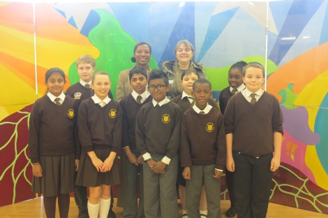 Councillor Judy Saunders with Year 6 pupils at St Peter and St Paul Primary School during their anti-litter workshops