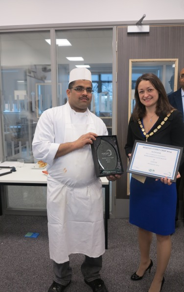 Curry Chef Competition winner, Mohammed Valiyakath of Cocum Restaurant with the Mayor of Merton, Councillor Krystal Miller