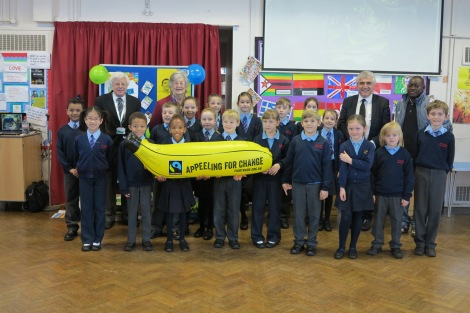 Pupils from St John Fisher primary school and Merton Councillors