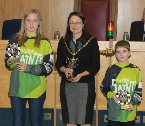 L - R: Lily Walters, Mayor of Merton, Councillor Krystal Miller and Dexter Razzell