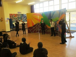 Pupils act out scenes for their classmates as part of the anti-litter workshops