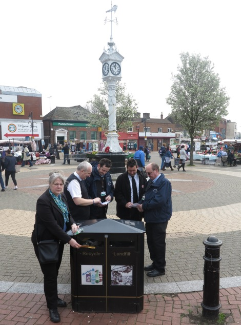 Cllr Judy Saunders on Mitcham Fair Green with litter enforcement officers.