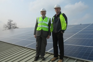 Councillor Andrew Judge with Keith Dawson from Mark Group who installed the solar panels at Canons Leisure Centre which holds one of the larger systems in Merton with 642 panels in total