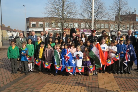 Merton school children with the Mayor and Councillors, The Rt Hon Sir John Wheeler JP DL and the chief exec