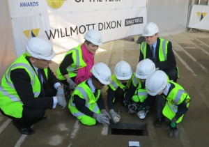 Director of Wilmott Dixon, Roger Fordsyke, Cranmer Headteacher, Ruth Whymark and Cabinet member for education, Cllr Martin Whelton with school pupils
