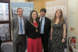 Head of Libraries and Heritage Services Anthony Hopkins, Mayor of Merton Cllr Krystal Miller, cabinet member for community and culture Cllr Nick Draper and Heritage and Local Studies manager Sarah Gould