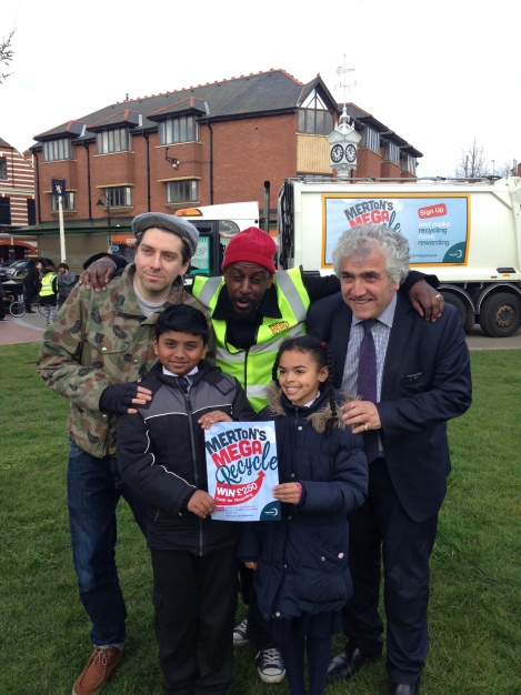 Council Leader Councillor Stephen Alambritis at the Merton Mega Reycle launch with singer Mark Professor (middle), record producer WrongTom and two children from St Thomas of Canterbury School in Mitcham.