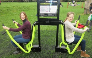 Angela Graham and Ashley Steadman from the Merton Mums group trying out the new equipment at Mostyn Garden's outdoor gym
