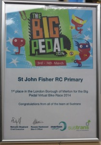 The Big Pedal winners certificate
