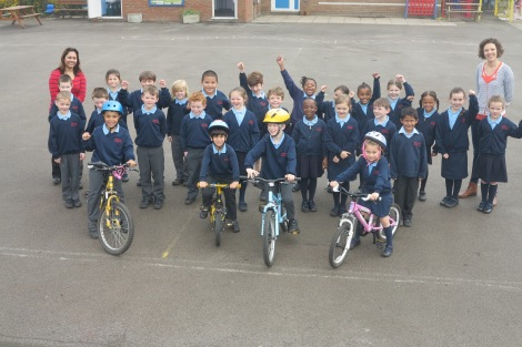 Pupils from St John Fisher celebrating their Big Pedal award