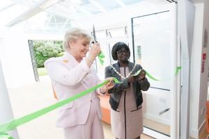 Angela Rippon OBE and Mayor of Merton, Councillor Agatha Akygyina cutting the ribbon