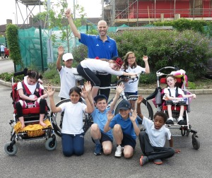 Toby Garbett with the winning team at St Helier Community Cluster's sports day