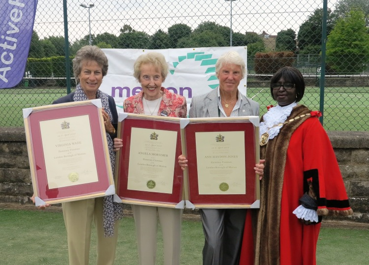 Virginia Wade, Angela Mortimer and Ann Haydon Jones with Mayor of Merton Councillor Agatha Akyigyina