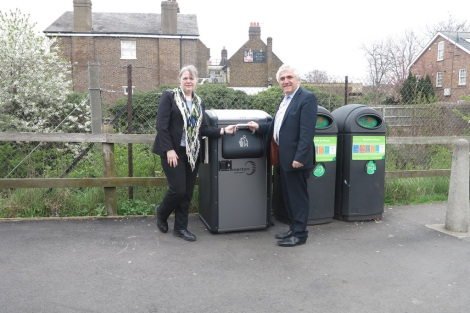 Merton's cabinet member for environmental cleanliness and parks, Councillor Judy Saunders and Leader, Councillor Stephen Alambritis next to a new smart bin