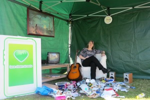 Councillor Judy Saunders at the 'room' on Mitcham Fair Green
