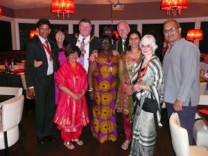 The Mayor of Merton Councillor Agatha Akyigyina with guests at Chak 89