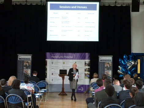 Ms Lawner speaking at the launch of the Merton Sixth Form Partnership Higher Education Aspirations Programme