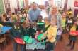Councillor Andrew Judge with Headteacher at Links Primary School Susan Taylor and pupils taking part in the free food waste scheme