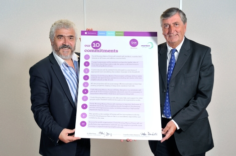 Robin Young, Chairman of Cirlce Housing and Cllr Stephen Alambritis, Leader of Merton Council, sign the 10 Commitments