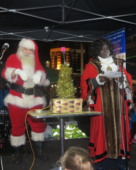 Santa and the Mayor switch on Merton's Christmas lights