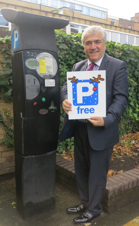 Leader of Merton Council Cllr Stephen Alambritis at Raleigh Gardens car park, Mitcham