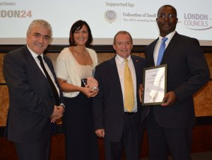 Leader of Merton Council Councillor Stephen Alambritis, Sara Williams from the council's Future Merton team,  London regional chairman of the Federation of Small Businesses, Steve Warwick and Future Merton's Eric Osei