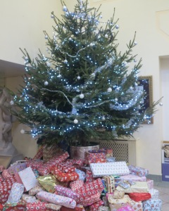 Civic Centre Christmas tree with presents from the appeal.