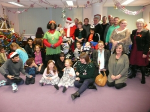 Mayor of Merton with Councillor Laxmi Attawar and families from Shooting Star Chase.