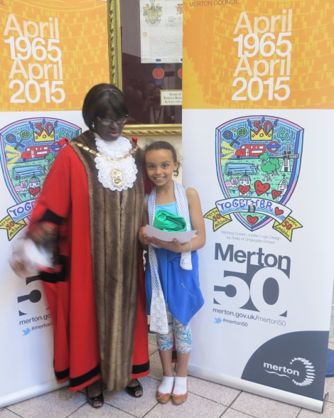 Winner of the logo design competition Stella Rodriquez with Mayor of Merton Cllr Agatha Akyigyina and her winning design