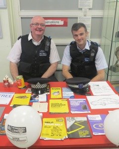 PC Weatherhead and PSCO Ramsay at Morden Library
