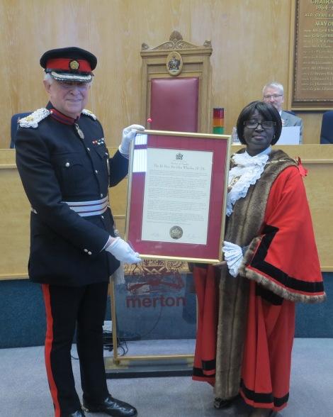 Sir John Wheeler with Mayor of Merton Councillor Agatha Akyigyina