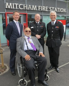 Mayor of Merton, Councillor David Chung outside the new Mitcham Fire Station alongside the chairman of the London Fire Emergency Planning Authority, Gareth Bacon AM, the Director of Operations, David Brown and the commissioner of the London Fire Brigade, Ron Dobson CBE.