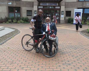 Mayor of Merton, Councillor David Chung alongside the Mayor's Rider, Tony Richards.