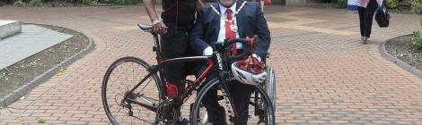 Mayor of Merton, Councillor David Chung alongside the Mayor's Rider, Tony Richards.
