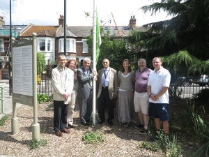 Friend of South Park Gardens, Peter Kenning, Merton Council's Jill Tyndale, Leader of Merton Council Councillor Stephen Alambritis, Trinity ward councillor Abdul Latif, Friend of South Park Gardens, Rachel Tilford, cabinet member for environmental sustainability and regeneration Councillor Andrew Judge and Garden Foreman Tom Kilduff. This popular open green space has a new café.