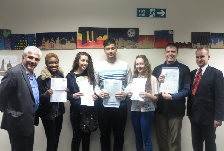 The Leader, Cllr Stephen Alambritis and cabinet member for education, Cllr Martin Whelton with students from