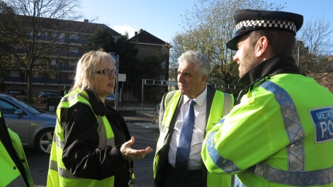 Leader of Merton Council Councillor Stephen Alambritis out with police and council officers on a joint operation