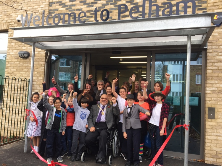 Mayor of Merton Cllr David Chung with Leader of the council Cllr Stephen Alambritis and members of the school council at the official opening of the new Pelham Primary School building.