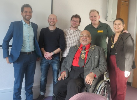 Mayor of Merton, Cllr David Chung, with (l-r), Agamemnon Otero (Repowering London), Giles Read (Thinking Works), Jon Buick (Merton Council), Tom Walsh (Sustainable Merton) and Lady Mayoress Irina Chung