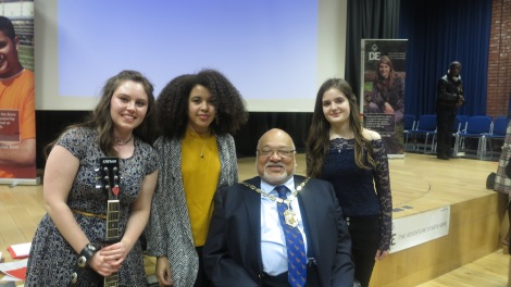 Mayor of Merton, Councillor David Chung with (l-r): Lillie Rodger, Anais Mango and Katie Keane