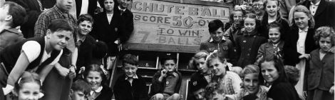 Local youngsters enjoying fun and games at Morden Park fete, June 1954