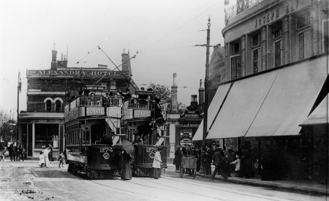 Trams pictured in front of Ely's department store at the junction of Worple Road and Wimbledon Hill Road, c.1910.
